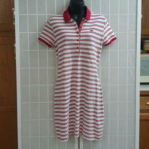 LACOSTE Hot Pink &White Stripe Polo Shirt Dress 40